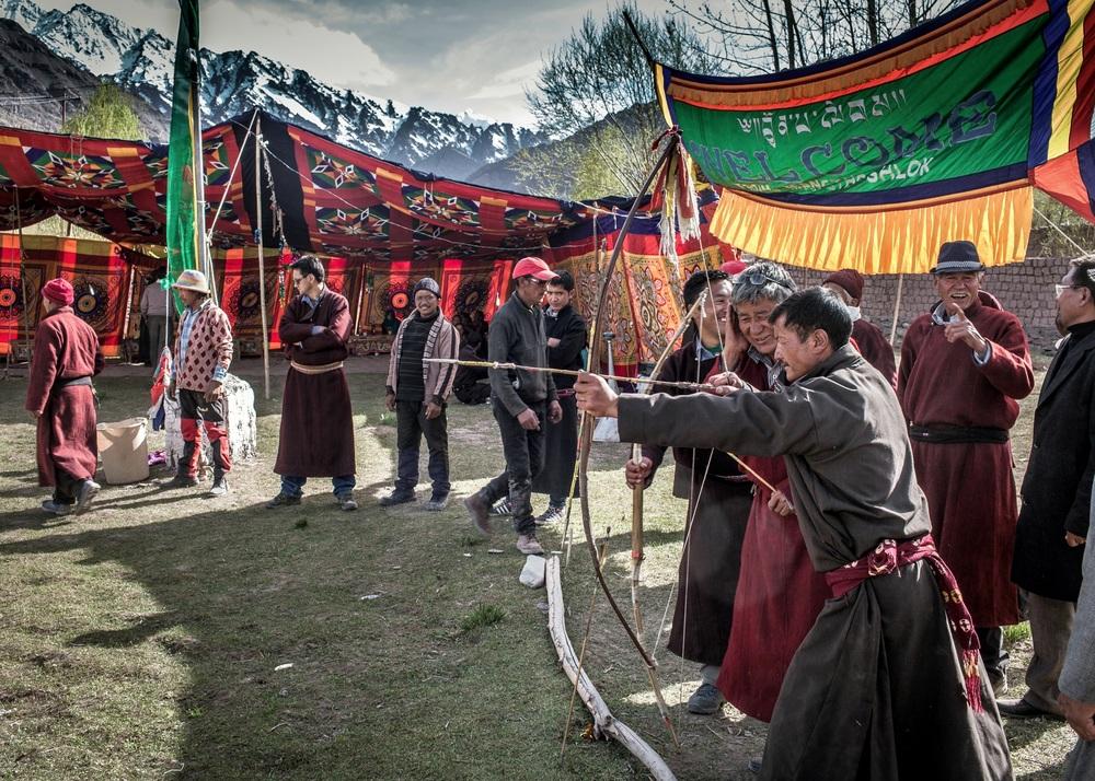 Archery contest while drunk on chhaang,Matho village, Ladakh.