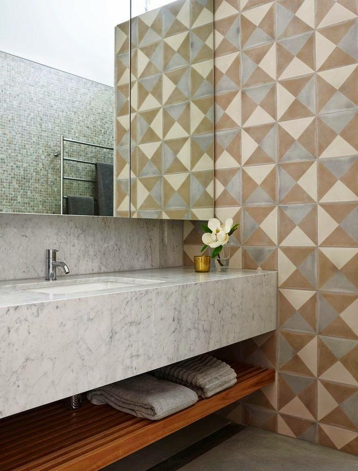 marble and cement tiles