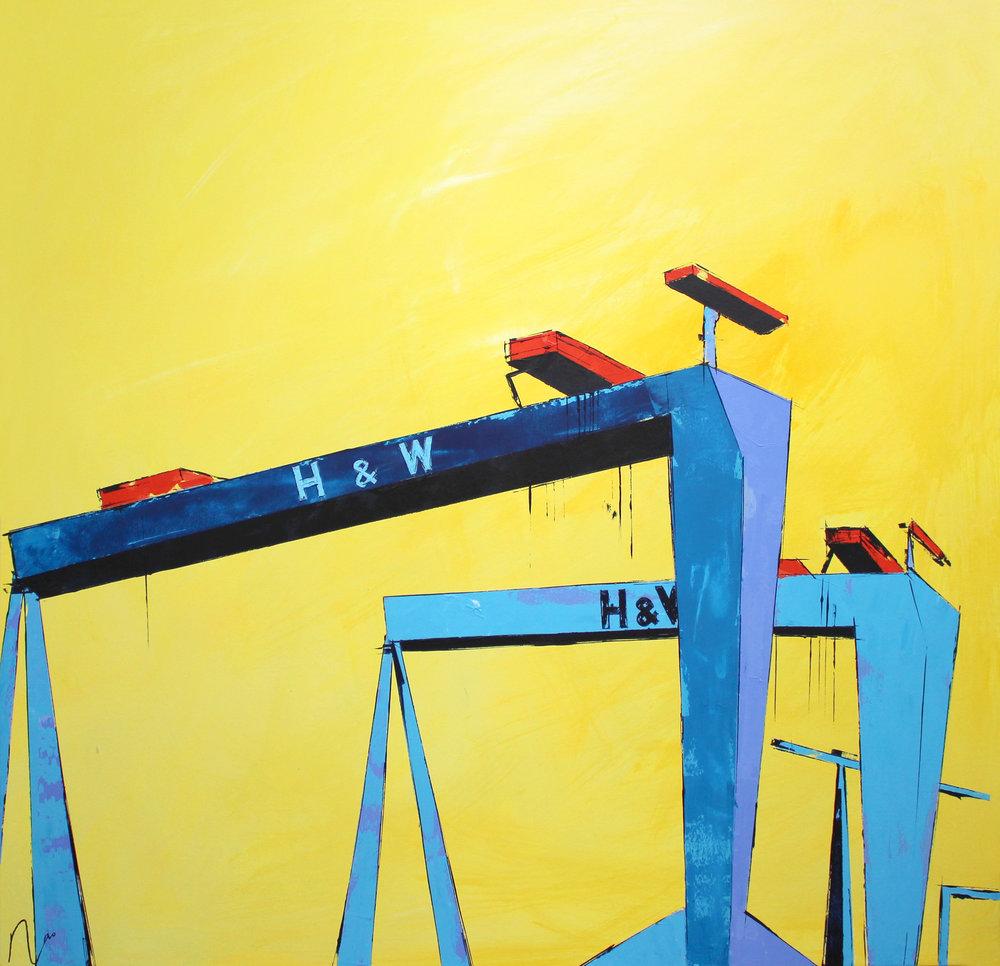 Samson and Goliath (Yellow background) - 100 x 100cm,         0 false   18 pt 18 pt 0 0  false false false                     /* Style Definitions */ table.MsoNormalTable {mso-style-name: