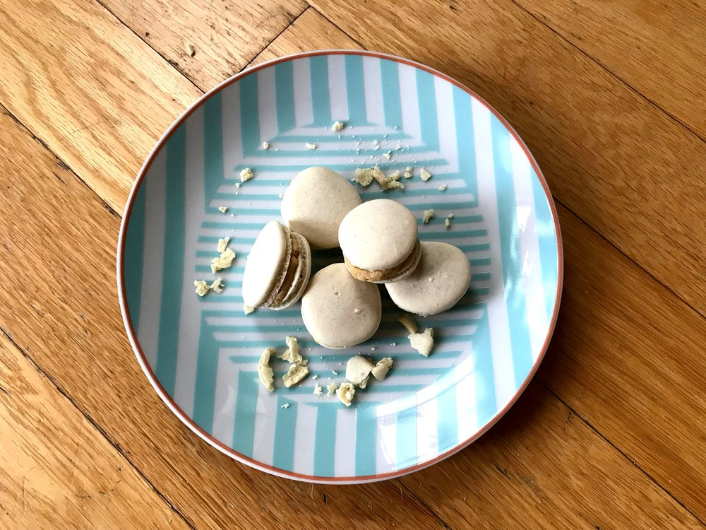 My first attempt at macarons came out pretty good, if I do say so myself! I made these plain shells with a hint of kona coffee, and the filling is Kona coffee almond buttercream. The flavors were bold, but not overly sweet, which is how I prefer my sweets nowadays.
