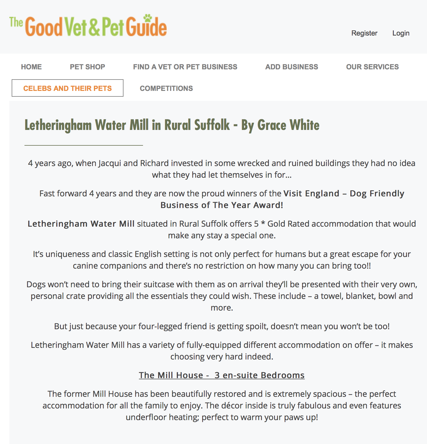 d6cc4a2ac81 The good vet and pet guide - 10th May 2017 — Letheringham Water Mill ...