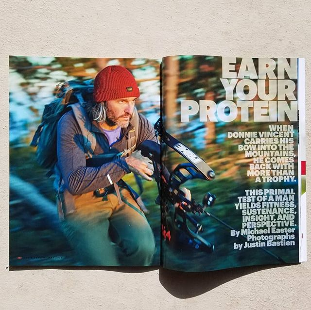 """In the fall, I followed @donnie_vincent as he bowhunted elk in the Nevada backcountry. The story, in the May issue of @menshealthmag (on newsstands now), gets into the benefits of extended physical trials in nature, the history of meat and man, and why temporary discomfort has a hardening effect.  Donnie's a true steward of the outdoors. My favorite thing he told me: """"I know hunting is controversial. But if you eat meat, your barrier to entry is going into the grocery store and swiping a credit card. You don't know anything about the animal, how it lived, where it came from, or what kind of life it had. Well, I know."""" A nod to @bencourt for the stellar edits and @justinbastien for the epic photos.  #journalism #hunting"""