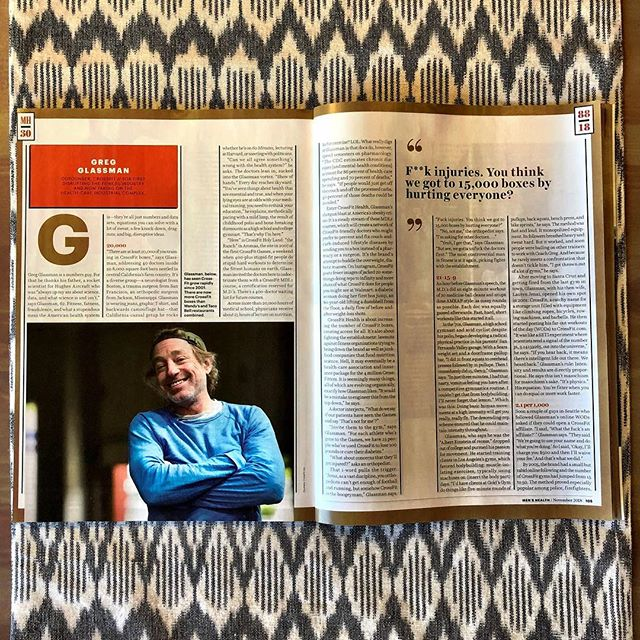 """For @menshealthmag's 30th anniversary issue, I wrote about  @crossfit founder and CEO Greg Glassman, the person who's most influenced how we exercise in the last 30 years.  Greg's as intense and no-bullshit as he is brilliant. My favorite Greg quotes: // -On CrossFit and injuries: """"F*ck injures. You think we got to 15,000 gyms by hurting everyone?"""" // -On posting CrossFit WODs online in the early 00s: """"It was like the SETI experiment where scientists send a signal of the number pi, 3.14159265, out into the universe. If you hear back it means there's intelligent life out there. We heard back."""" // -On the purpose of CrossFit: """"If you eat too much sugar and you can't squat, pick things up off the ground, throw, jump, run, and climb, then you're broken. And we want to fix you."""" // -On his response to the first guy who asked him if he could license the CrossFit brand and start an affiliate: """"I said 'what the f*ck's an affiliate?'"""" Link to the story in bio.  #longreads #crossfit #fitness #wod"""