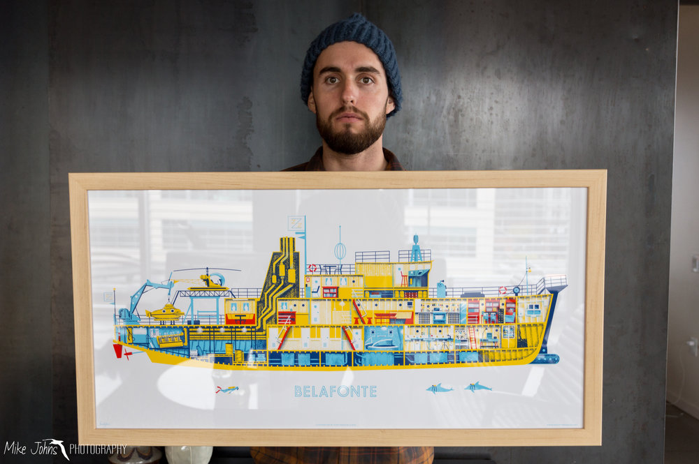 "We requested support for our honeymoon as a wedding gift, but my longtime friend Tram and her husband Russell won best wedding gift of them all with this sweet ass print of the Belafonte from ""The Life Aquatic"". She knows me too well!"
