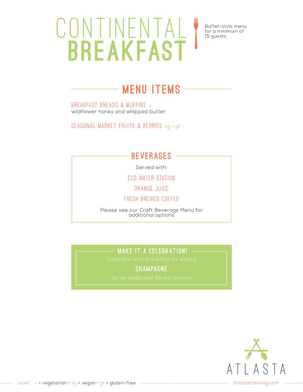 Atlasta Catering - Continental Breakfast