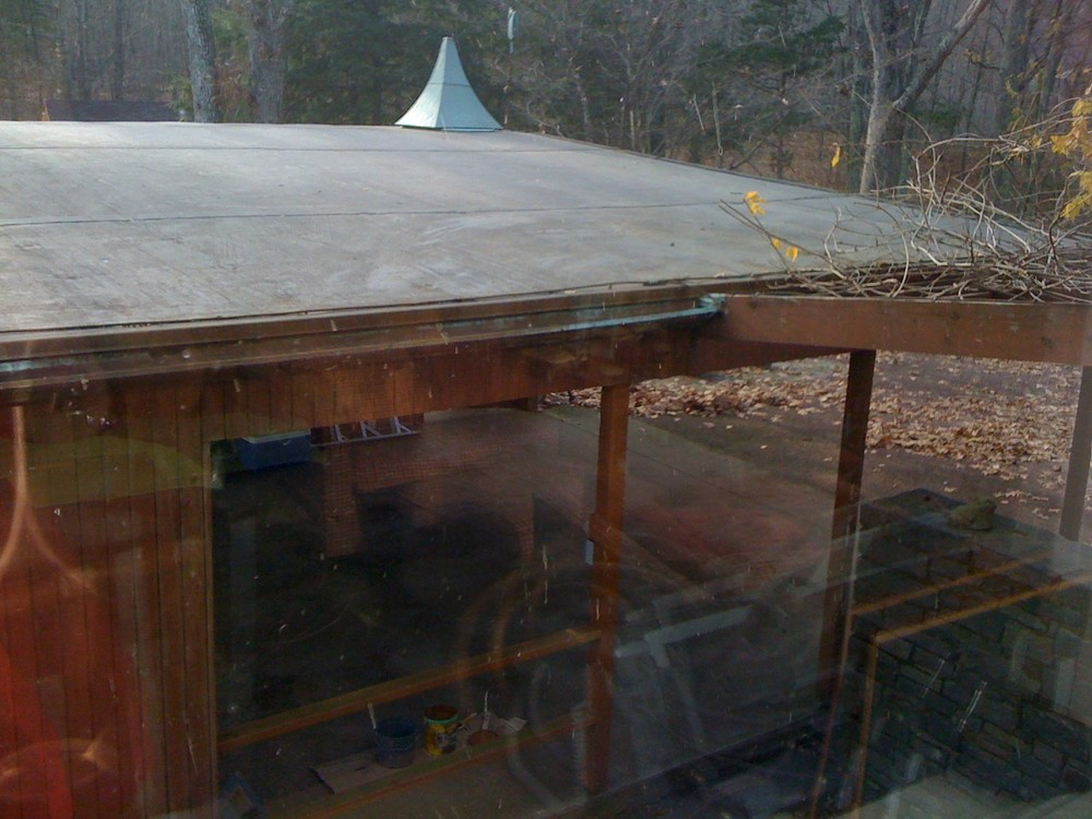 Before: EPDM membrane view from the kitchen.