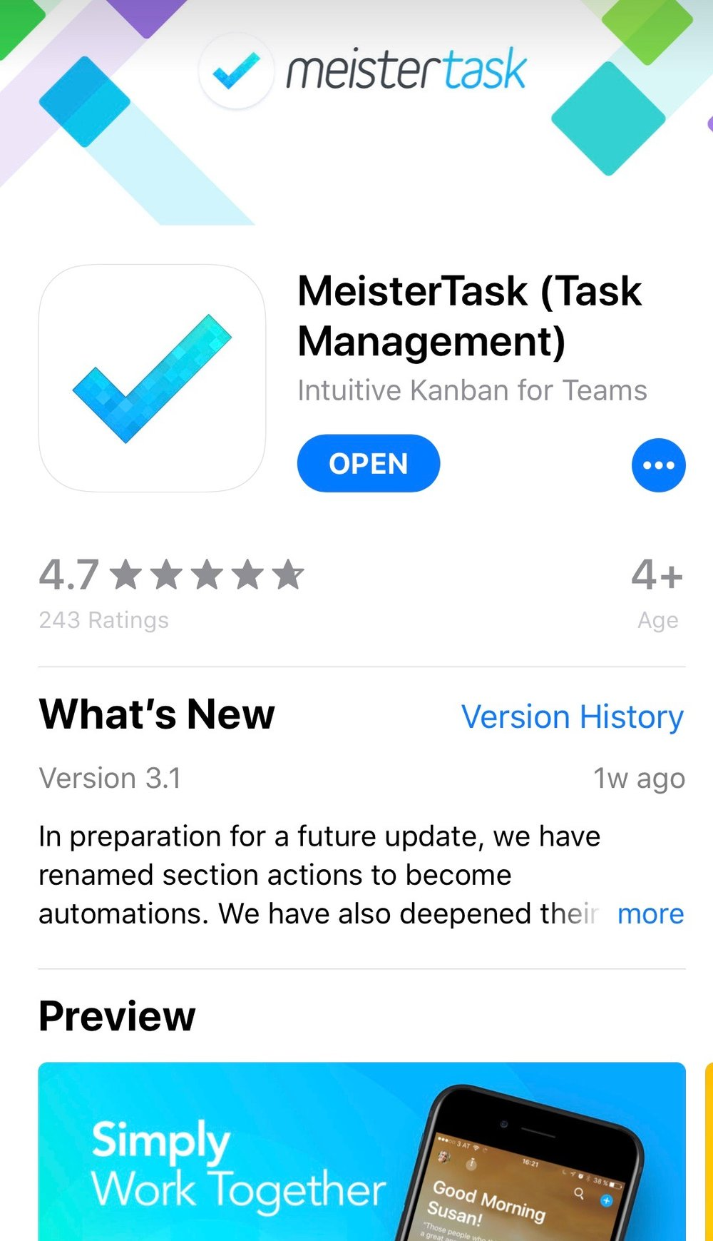 #3 MeisterTask: Create the Ultimate Project Workflow - MiesterTask is more than just a To Do list. This app allows me to layout my work flows. If you have multiple projects or projects that require a work flow progression (i.e. In Progress / Sent / Invoiced / Paid / Completed) this is the best app around! I searched for an app like this for years and I was over the moon when I finally found it!