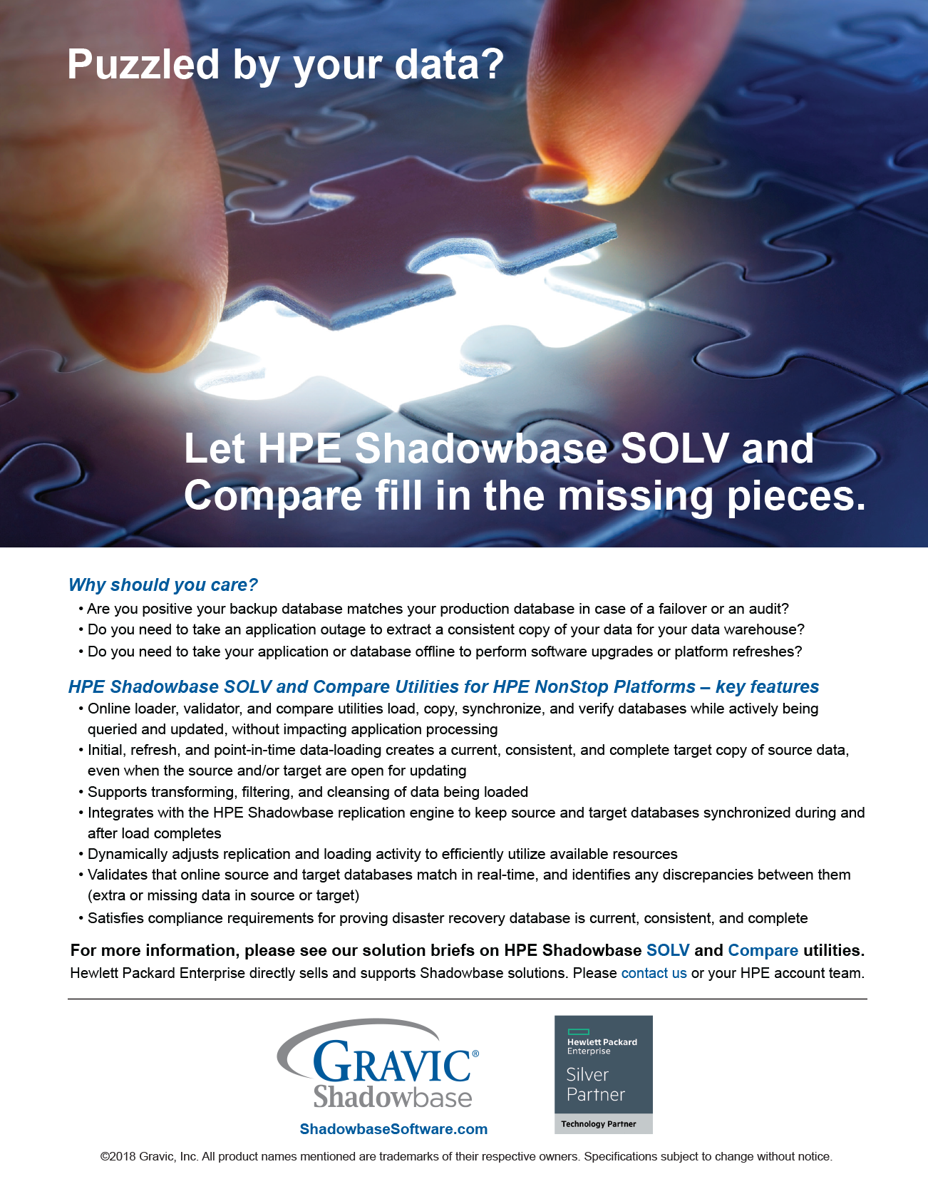 Let HPE Shadowbase SOLV and Compare fill in the missing pieces