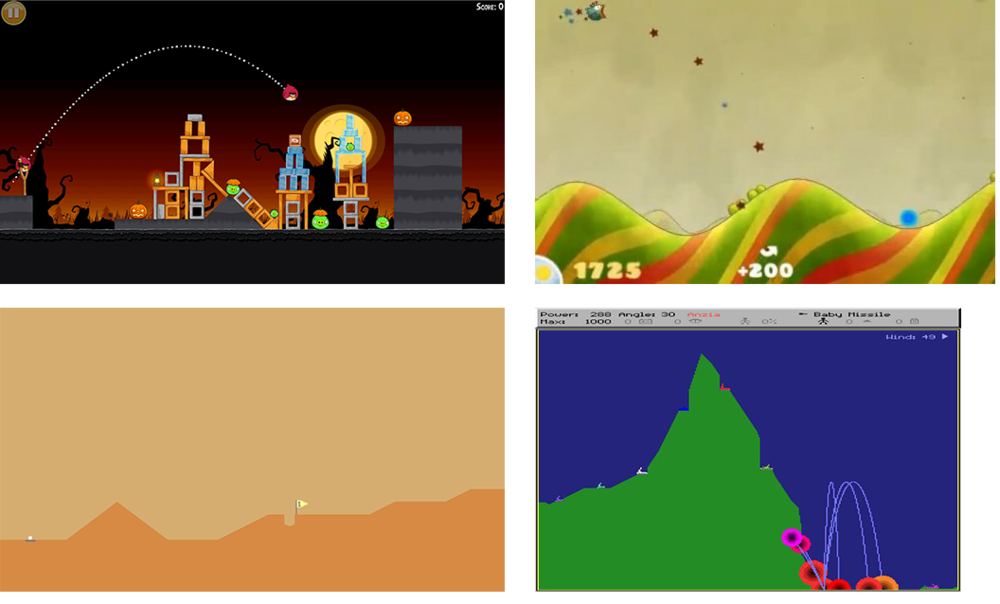 Tons of popular mobile action games such as  Angry Birds ,  Tiny Wings , and  Desert Golfing  are secretly all about judging parabolic arcs. Even classics like  Scorched Earth  and  Worms  follow the same theme.