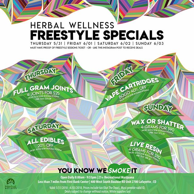 🚨FREESTYLE SPECIALS🚨 Calling all bass heads!! Herbal Wellness has got you covered with a weekend full of sweet deals every day of #FreetyleSessions 💯💯 Save some money before the big show just: 👆🏼👆🏼 which day/s you're attending Follow @Herbalwellnessco Leave a comment about which sale you're most excited for! -- -- -- #SummerGathering #2018 #Bassnectar #basshead #firstbankcenter #shoplocal #BoulderLife #DenverLiving #dabs #extracts #dealoftheday @bass_network @bassnectar