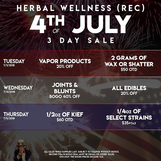 4th of July SALE! Starting 7/3, stop by our Med or Rec store for great specials. #4thofjuly #merica #america #weed #dank #specials #colorado #lafayette #dispensary