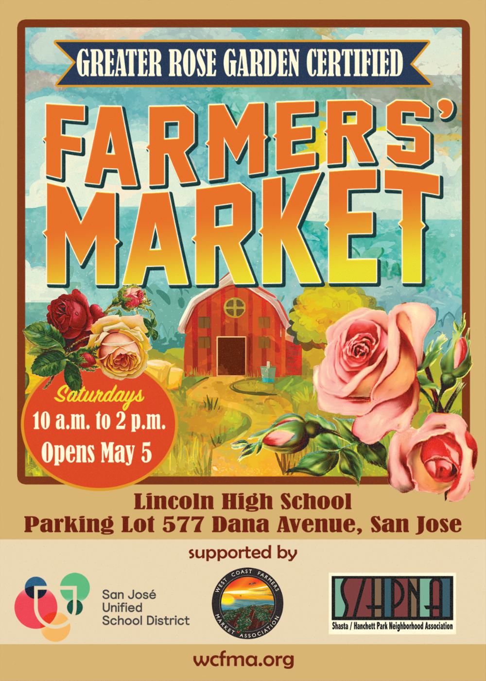 A new Farmers' Market comes to Midtown!  Every Saturday starting on May 5th you can get the freshest fruits and veggies right here in the Rose Garden.   -
