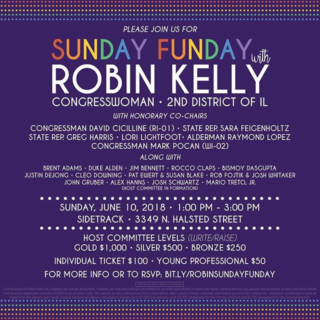 The mimosas will be flowing at @reprobinkelly's Sunday Funday this weekend! Stop by Sidetrack to celebrate #PrideMonth with #TeamRobin! 💜