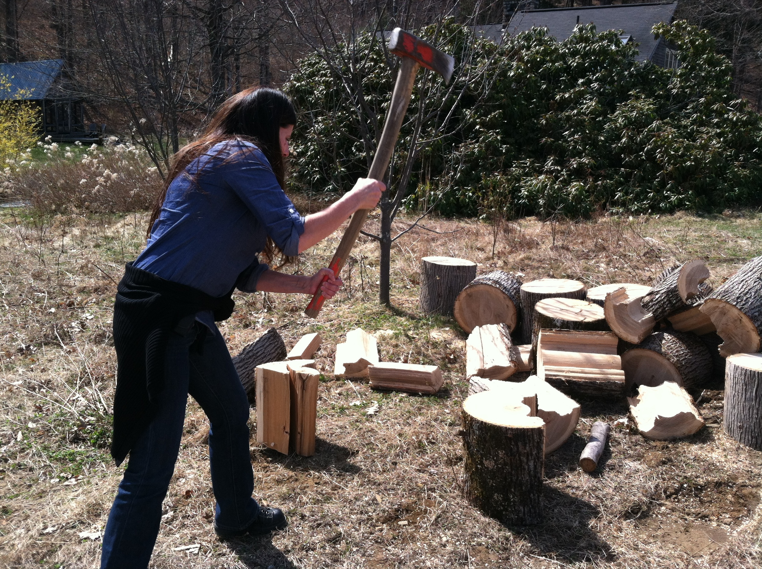 Me chopping wood - photo by Tom Eaton