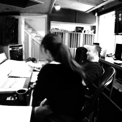 Working at Imaginary Road Studios in April 2014