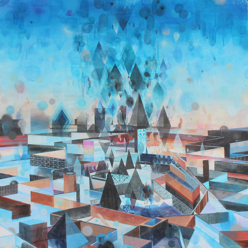 Eli McMullen Sky Labyrinth acrylic and aerosol on panel 48_x48_ $2000 2014 .jpg