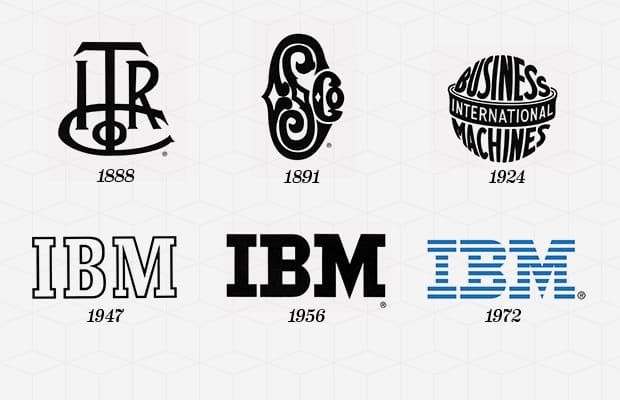 "Year Company Founded:  1911   Year Logo Introduced:  1888   Logo Designer:  Paul Rand (1956, 1972)   Company Founder:  Charles R. Flint  The IBM logo was first introduced in 1924 when the Computing-Tabulating-Recording Company was renamed as International Business Machines. The renaming of CTR to IBM was the company's attempt to modernize; following this, the IBM logo introduced in 1924 was an updated version of the 1911 CTR logo used by the company. The intricate, entwined design of CTR was replaced by bold lettering of ""International Business Machines,"" configured to mimic a globe, emphasizing the ""International"" in IBM. In 1947, with the modernization of the company's technology, the globe logo was replaced with a simplistic ""IBM,"" which remains the symbol of the company. In 1956, Paul Rand transformed the outlined logo into a solid black ""IBM"" to impress stability and balance. In 1972, Rand returned to update the image of the company from solidity and stability to ""speed and dynamism"" (that was supposed to be implied by the striped logo)."