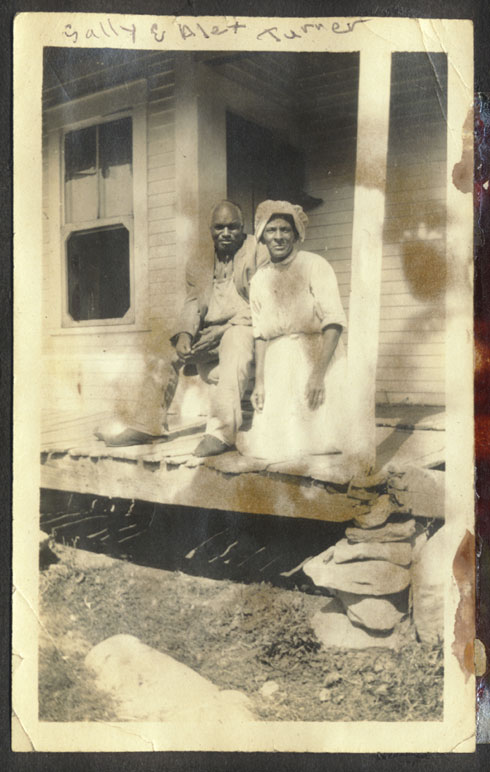 Alec and Sally Turner in the early 1920s on the porch of their home, Journey's End, in Grafton, Vermont.