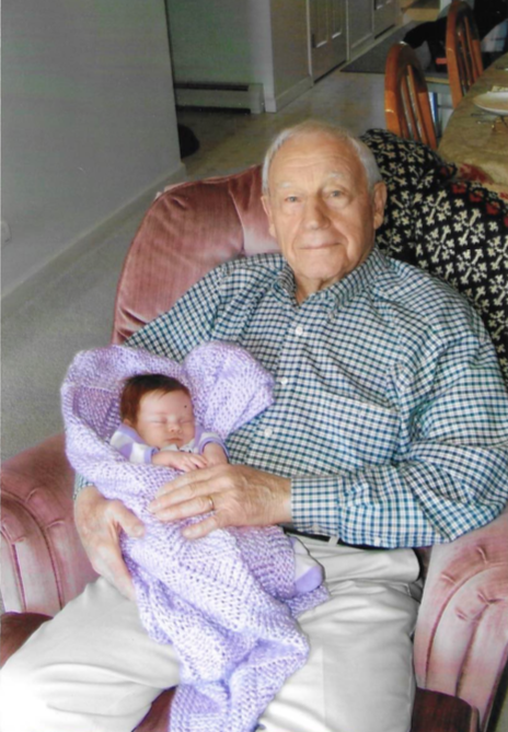 Francis in 2008 with his first great-grandchild.