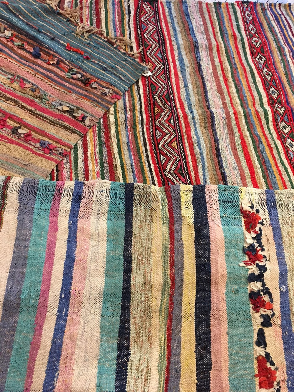 Flat weave Boucherouite rugs. Priced from $75-250.