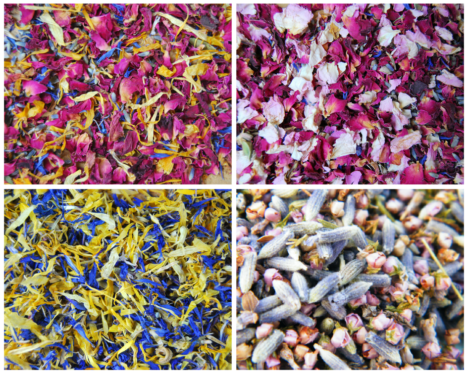 Natural biodegradable petal confetti in four mixtures