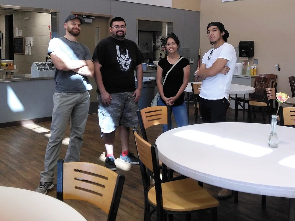 Jeff, Jose, and two friends at the EPCC cafeteria.