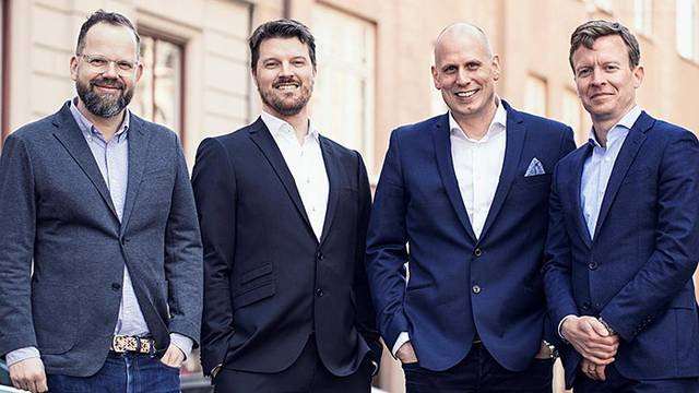 Commuter Computing says that big data is relatively untapped in public transport. In the image; Jonas Järnfeldt, CTO Wilhelm Landerholm, Board member Magnus Ahlgren and Chairman Thomas Øster