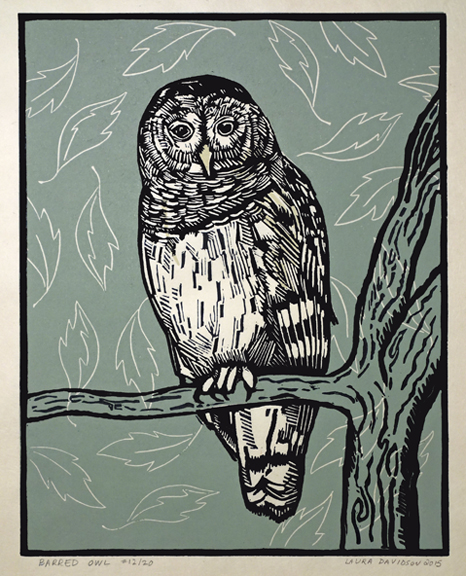 "Barred Owl 2015, 3 color linoleum print on rice paper. Edition of 20. The green background varies throughout the edition. 9.5"" x 7.5"""