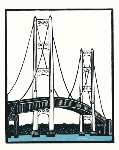 "Mackinac Bridge, Michigan 2014, 2 color print on rice paper.  From the Almost Home edition.  20 copies. 9"" x 7.25"""