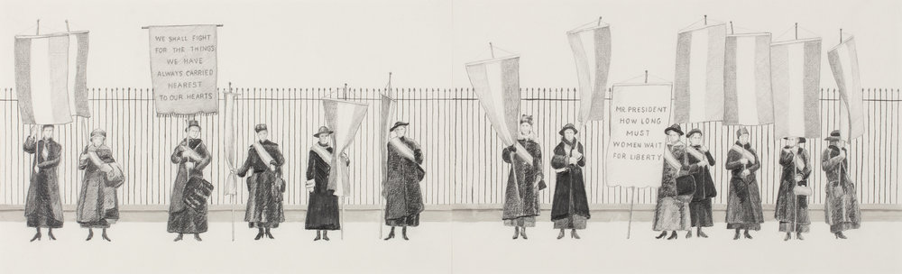 "The Silent Sentinels , 2018 graphite drawing   ""I've been holding this sign for 100 years  ""- a sign seen at the 2017 Women's March  Starting in 1917 a group of suffragists picketed the White House for almost two and a half years, with the goal of seeking voting rights for women. They were called the Silent Sentinels because of their quiet form of protest. Public opinion varied on their tactics. They were warned of arrests and jail time if they continued but nevertheless - they persisted. Many of these women were arrested and held in horrific conditions; some were beaten and tortured. When newspapers started reporting on their treatment, public opinion began to shift. They stood their ground until June 4, 1919 when the Nineteenth Amendment was passed by the House and Senate."