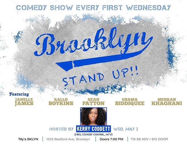 Brooklyn Standup is back this week with a fire lineup! Grab your tickets while you can and join us @tillysbklyn for some delicious food and dope comedy.  Link in bio  @overfab @mrseanpatton @janellejamescomedy @ralloboykins @usamabinlaughin @blaudiablogan @themehran