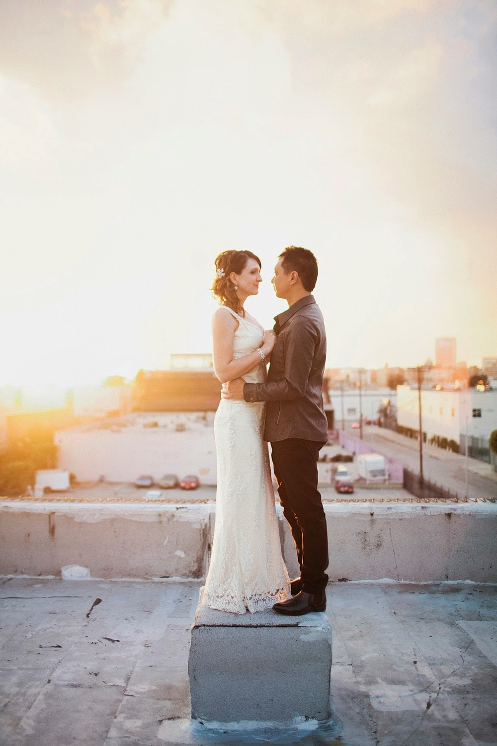 los angeles wedding rooftop real couple