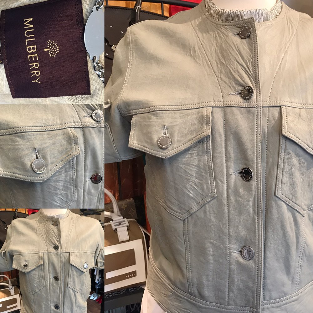 Mulberry short sleeved leather jacket. Size 10 £149.JPG