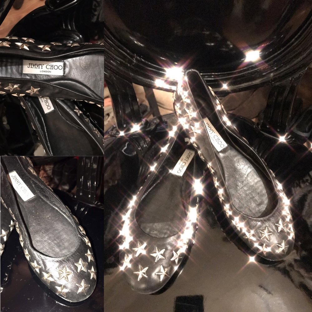 Jimmy Choo black leather pumps with star studs. Size 39 £99.JPG