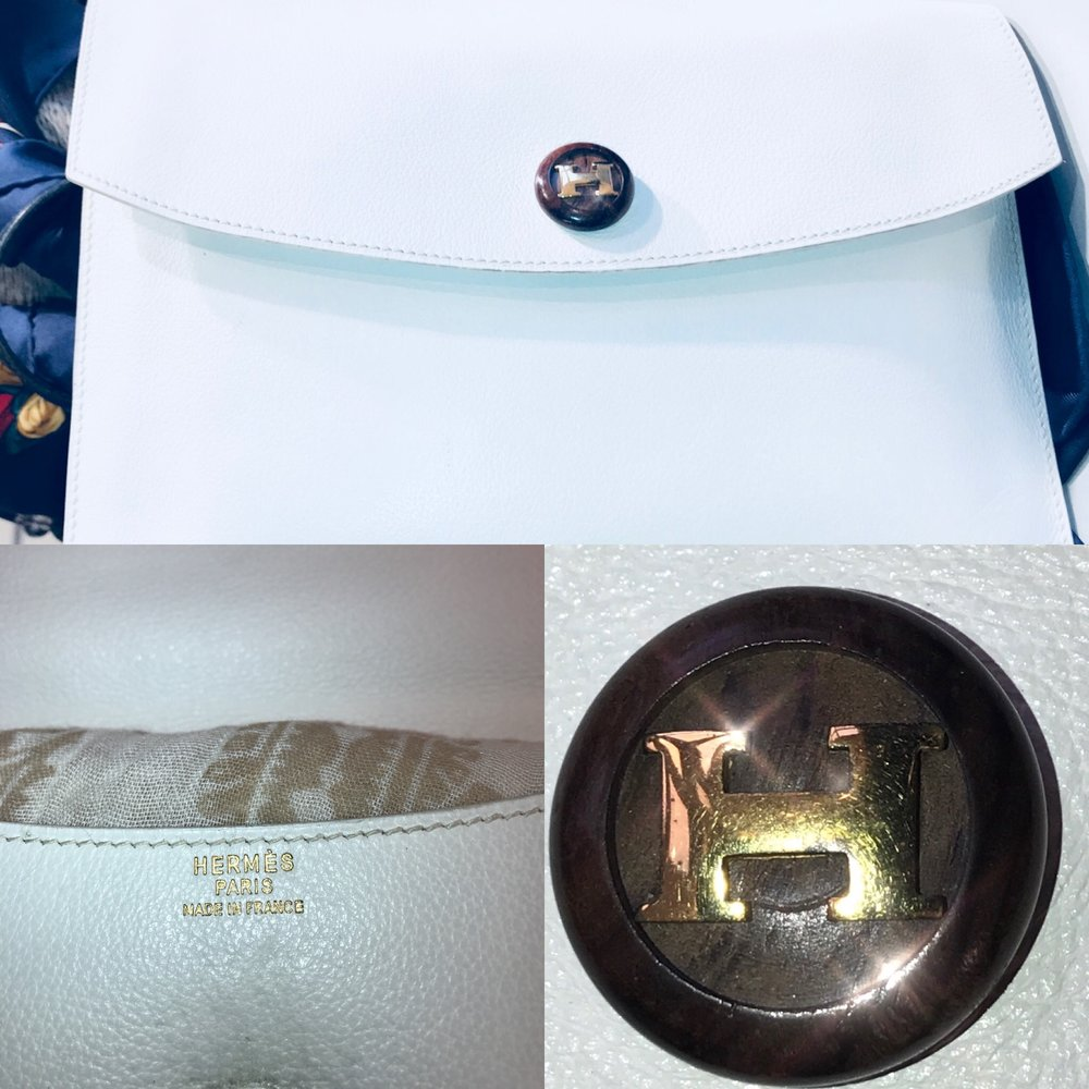 Hermes white leather vintage clutch £199.JPG