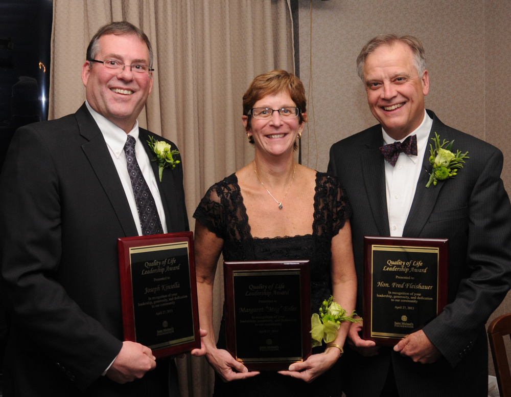Pointe Precision CEO, Joe Kinsella (left), with fellow award winners Margaret Erler and Fred Fleishauer.