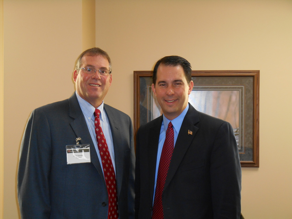Pointe Precision CEO, Joe Kinsella with Wisconsin State Governor Scott Walker.