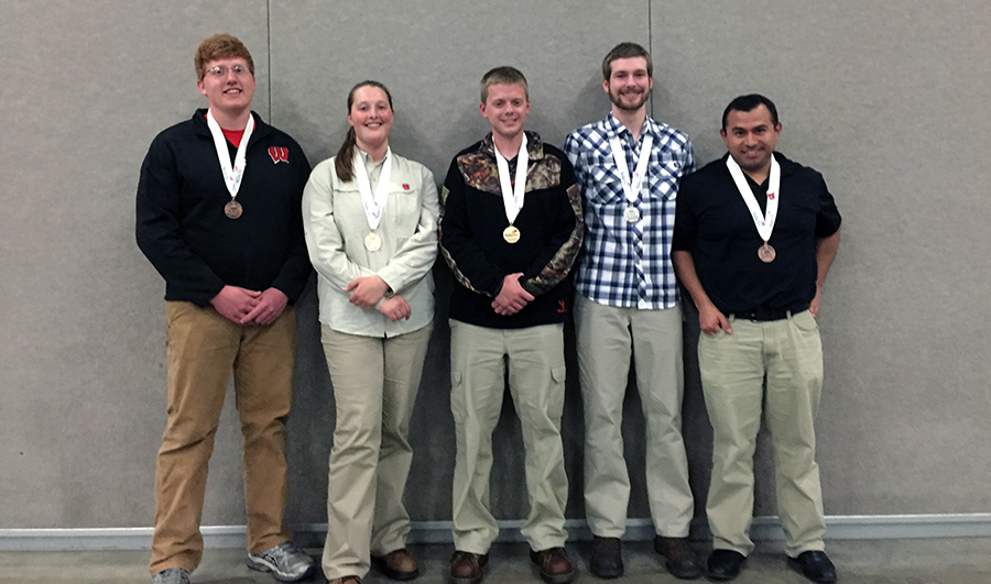 Maggie Hirzy (second from left) with her fellow medal winners. Photo courtesy of The Stevens Point City Times.
