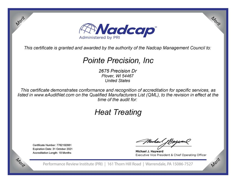 Nadcap - Heat Treating
