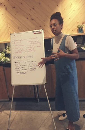 Rachel leading a grief workshop at the  Loaded Bow Retreat