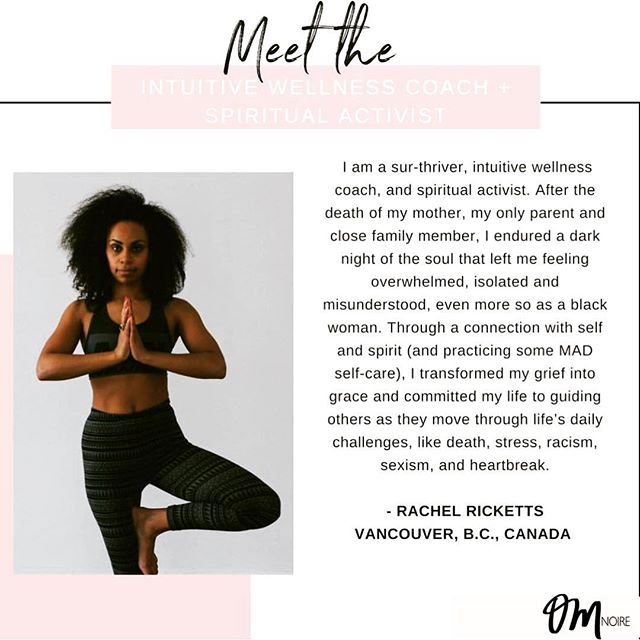 """Mad love to @omnoire for inviting me into their crew of amazing healers, coaches and wellness practitioners of colour . . """"I am a writer, certified grief, and wellness coach and the founder of loss&found, an organization helping folks (especially women of color) move through challenging emotions and manifest more joy through connection with Self + Spirit. Through Reiki, yoga, breathwork, guided meditation and more, I help folks around the globe heal from grief. I create a sacred space for us to come together and connect as our true, raw and real selves, fully express our joy as well as our pain, and feel equally safe to laugh or cry. My vision is for every single person, especially the marginalized, to feel seen, supported and celebrated through their highs and lows. This work is my divine purpose and my mother's legacy"""" 💫"""