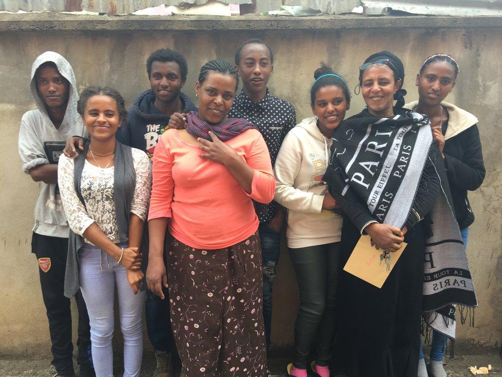 Biruk's Axum family: Amanuel, Selam, Tefared, Auntie Genet, Biruk, Mahlet, Mama Bichawork, Tigist Not pictured: Fetlework, Yoseph