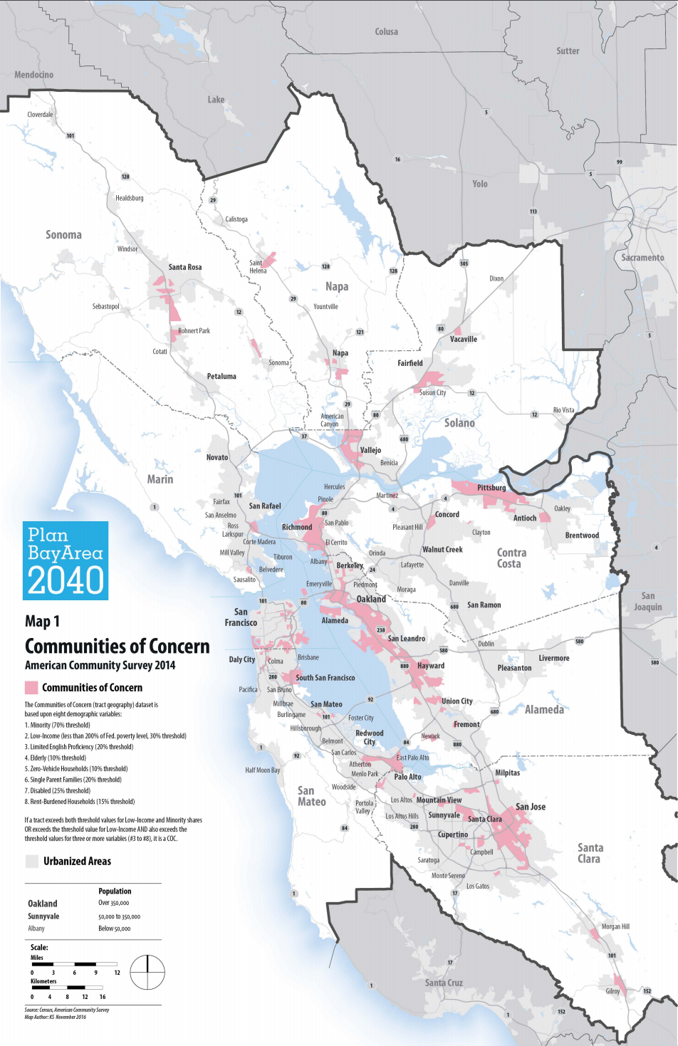 "Figure 1. Locations of MTC-defined ""communities of concern"" in the Bay Area [5]."