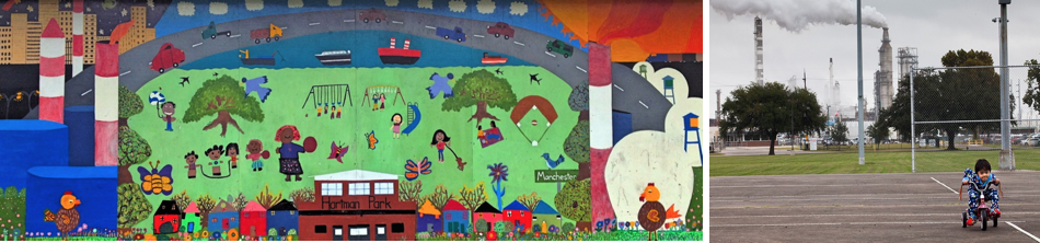 Figure 2. (a. Left) Mural in Hartman Park depicting the stark reality in the Harrisburg/Manchester neighborhood. (b.Right) child playing in Hartman Park while smoke billows from Valero's refinery