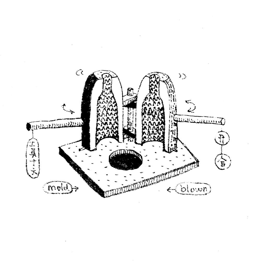 18.   工具十六,可开合模具  大约在公元20年,古罗马玻璃工匠为了提高效率发明了能够持续使用的吹制模具。制模的材料多选为陶,木头或者金属等,同时根据复杂程度制成至少两部分的开合模具。这样热玻璃在模具中吹起来后可以打开,就算纹理再复杂玻璃也不会卡在模具里。当时生产的玻璃器皿上的图案通常都是以罗马民间故事,神话等等为主题,后来人们逐渐融入商业元素,开始有的商标,品牌图案的出现。  Tool16, Mold-Blown (two-parts mold) By about AD 20, Roman workers had discovered a mold of a durable material, usually baked clay and sometimes wood or metal. The mold comprised at least two parts, so that it could be opened and the finished product inside removed safely. Although the mold could be a simple undecorated square or round form, many were in fact quite intricately shaped and decorated. The designs were usually carved into the mold in negative, so that on the glass they appeared in relief.