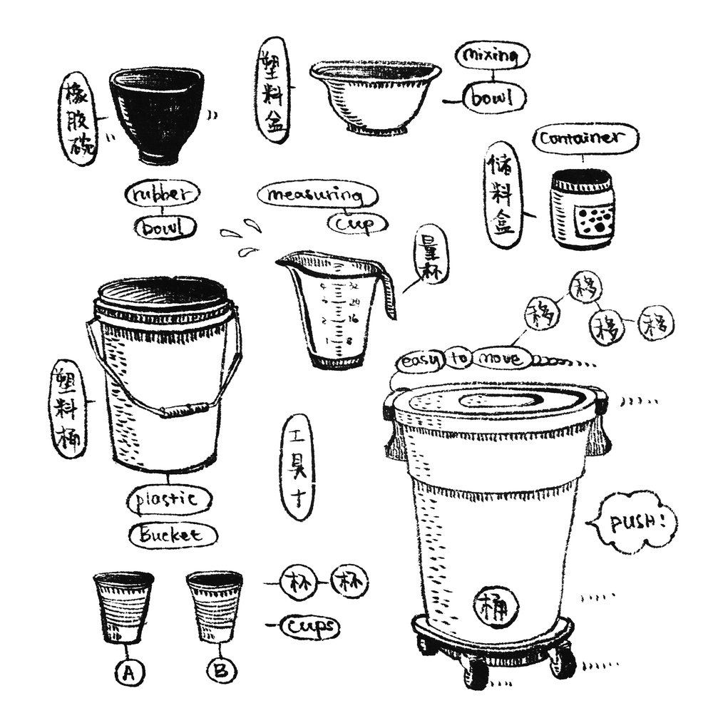 "10. Buckets&Bowls  We use all kinds of containers in the kiln shop~ For mixing, measuring, saving extra materials, etc... just couldn't stop drawing one after another once I started. Enjoy mold making~   10,""锅碗瓢盆""  石膏室里最不能缺的就是大大小小的桶啊盆啊小罐子啊之类的,调石膏称重储料哪一步都不能少~所以就画了个小系列…嗯~大家翻模愉快!"
