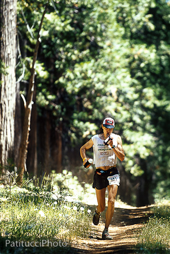 Scott Jurek, one of the greatest ultra runners in history. Here he is running the Western States 100 mile trail race in California in 2002. Scott is a plant based athlete.