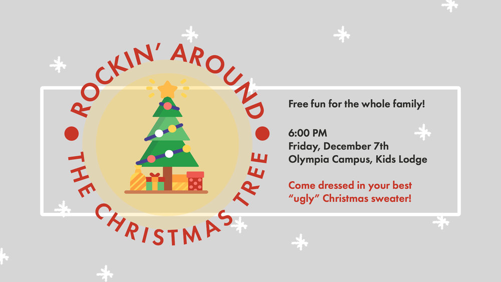 You are invited to join Evergreen Kids for a fun evening on Friday, Dec. 7 at 6pm, in the Kids Lodge at the Olympia Campus. Come in your ugliest Christmas sweater, Christmas karaoke, gingerbread house decorating contest, Christmas movie trivia, rock painting, hot cocoa, and more! FREE fun for the whole family!