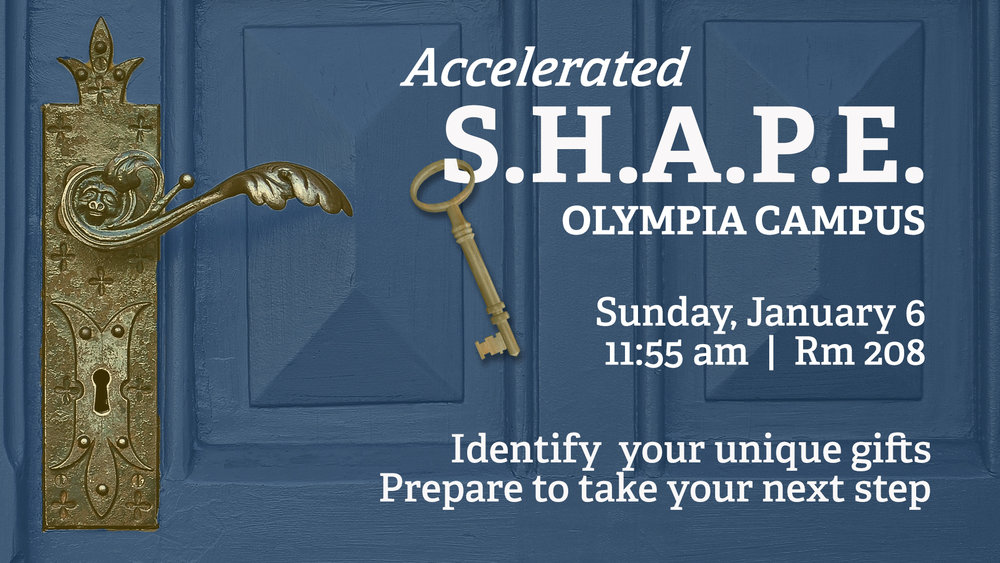 If you are ready to take your next step, Accelerated S.H.A.P.E is for you! Discover how God uses your spiritual gifts, abilities, personality, and experiences to uniquely equip you to fulfill Kingdom purposes!