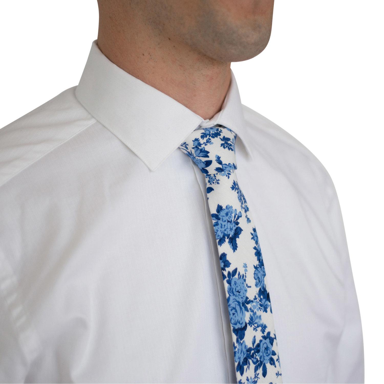 5421d809604a THE BEVERLEY (White & Blue Floral Skinny Tie) - DAPPER   Mens & Kids ...